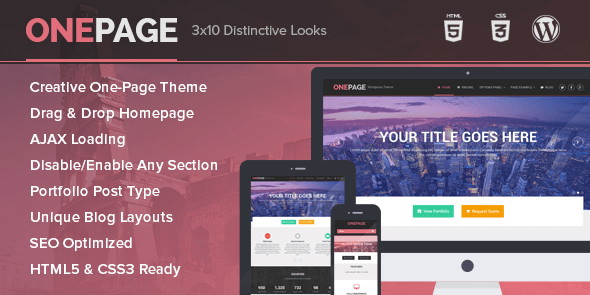 One Page Wordpress Theme - Unique Portfolio and Single Page Business Theme 1