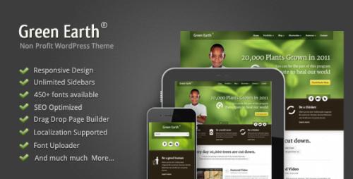 Green Earth WordPress Theme - Environmental WP Theme 1