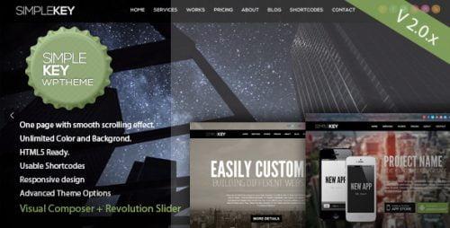 Simplekey Wordpress Theme - One Page Portfolio WP Theme 1
